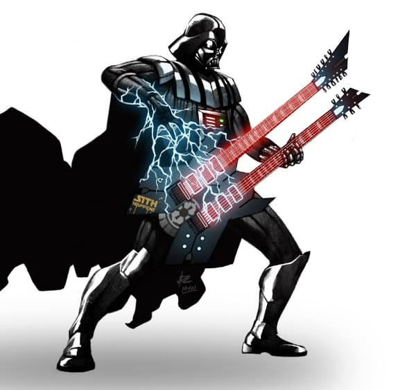 Darth Vader playing guitar