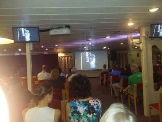 Mercy Ship Crew watching Hope On My Horizon music video onboard